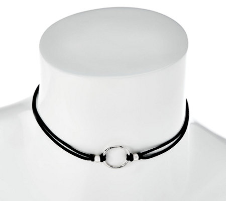 Italian Silver Circle Design Choker Necklace, Sterling