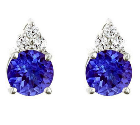Premier 1.40cttw Tanzanite & 1/10 cttw DiamondEarrings, 14K