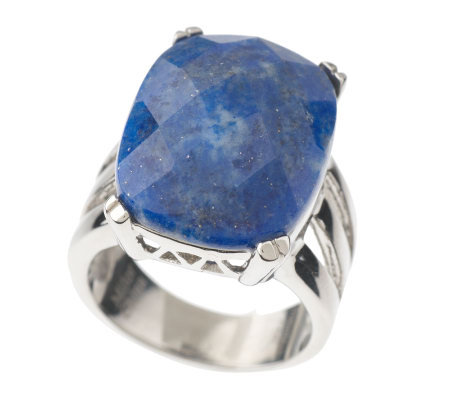 Stainless Steel Bold Faceted Lapis Ring
