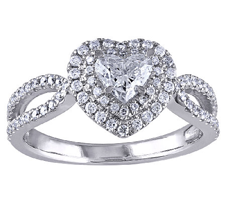 Diamond Heart Ring, 1cttw, 14K White Gold, by Affinity