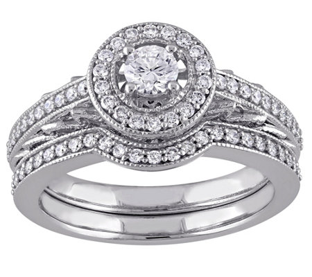 Round Diamond 2-Piece Ring Set, 14K, 5/8 cttw,by Affinity