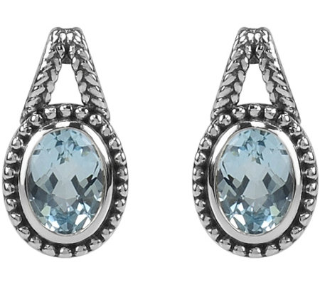 1.50 cttw Oval Blue Topaz Earrings, Sterling