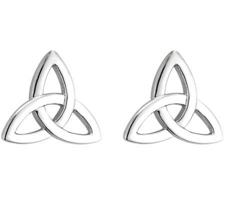 Solvar Trinity Knot Earrings, 14K White Gold
