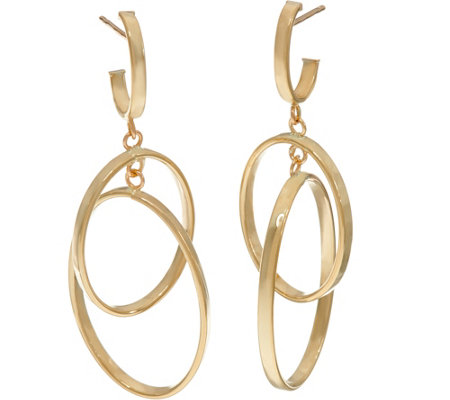 Italian Gold Polished Double Oval Dangle Earrings 14K