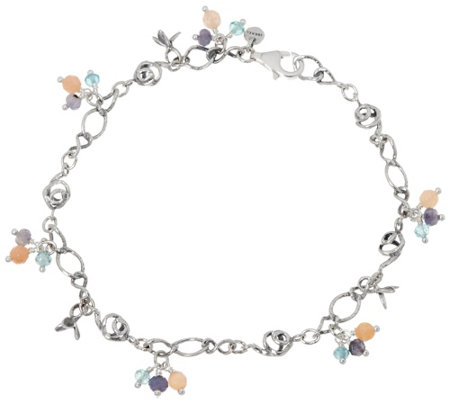 Sterling Silver Gemstone Beads Anklet by Or Paz