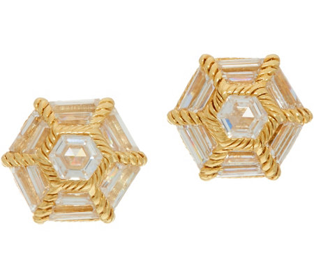 Judith Ripka Sterling & 14K Clad Baguette Diamonique Stud Earrings
