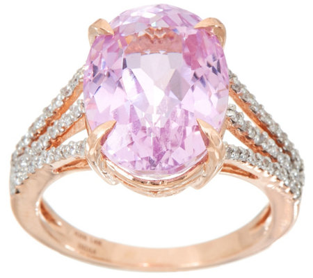 Oval Kunzite & Pave' Diamond Ring, 14K Gold 6.70 ct