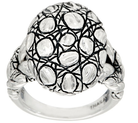 JAI Sterling Silver Croco Texture Pebble Shape Ring