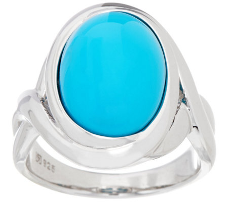 """As Is"" Oval Sleeping Beauty Turquoise Sterling Ring"