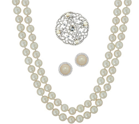 "Carolee Lady Liberty 60"" Simulated Pearl Rope Necklace Set"