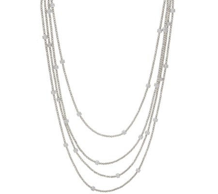 "Italian Silver 72"" Diamonique Diamond Cut Bead Necklace"