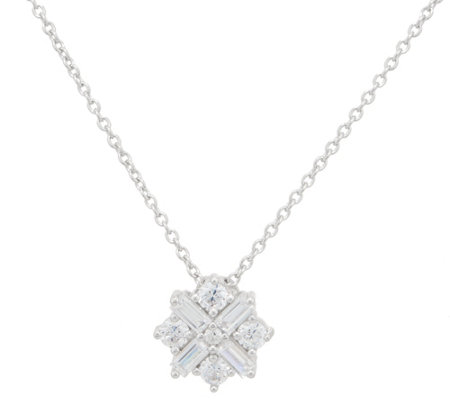 TOVA for Diamonique Star Pendant w/ Chain, Platinum Clad