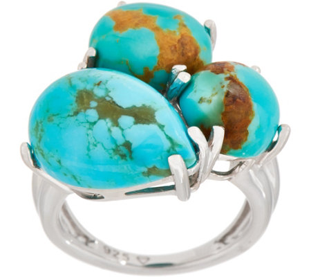 Turquoise Mixed Shape Cluster Ring, Sterling