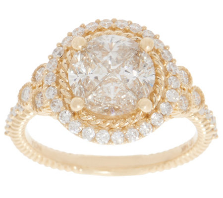 Judith Ripka 14K Gold Round Diamond Seamless Ring, 1.55cttw