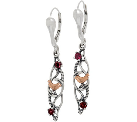 Carolyn Pollack Sterling Silver Rhodolite Garnet Bird Earrings