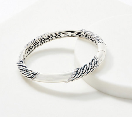 JAI Sterling Silver Carved Hinged Bangle, 36.4g