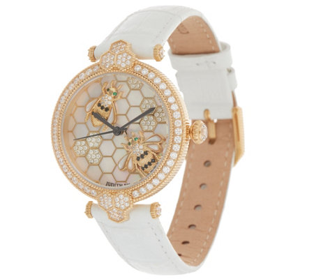 Judith Ripka Stainless Steel Goldtone Bumble Bee Gemstone Watch