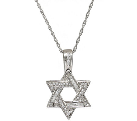 Round Diamond Star of David Pendant, 14K, 1/4cttw, by Affinity
