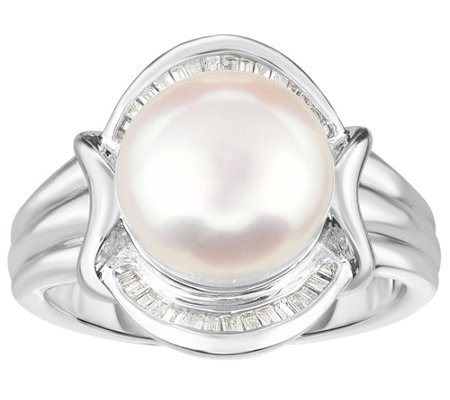 Honora Cultured Pearl 10mm & Diamond ScallopedSterling Ring