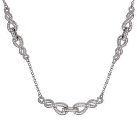 Judith Ripka Sterling Diamonique Swirl StationNecklace