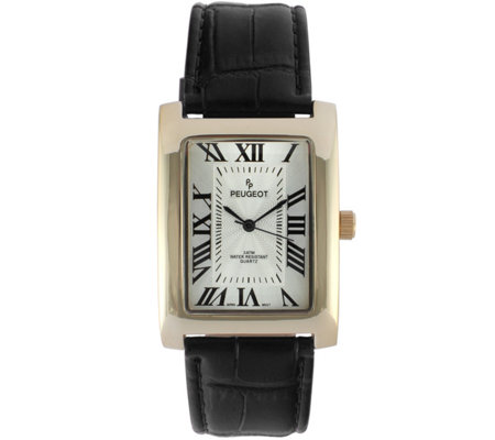 Peugeot Men's 14K-Plated Stainless RectangularLeather Watch