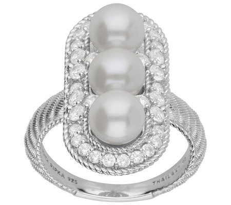Judith Ripka Cultured Pearl with Diamonique Halo Ring