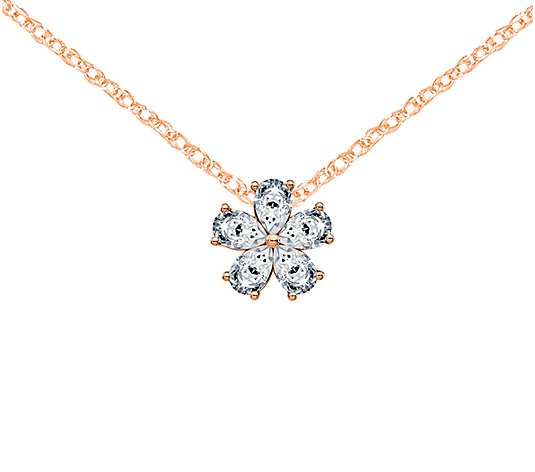 Moissanite 1.00 cttw Flower Pendant w/ Chain, 14K Gold