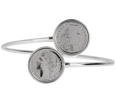 Ultrafine Silver 100 Lire Polished Bypass Cuff