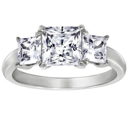 Diamonique 2 50 Cttw 3 Stone Princess Cut Ring Platinum Clad