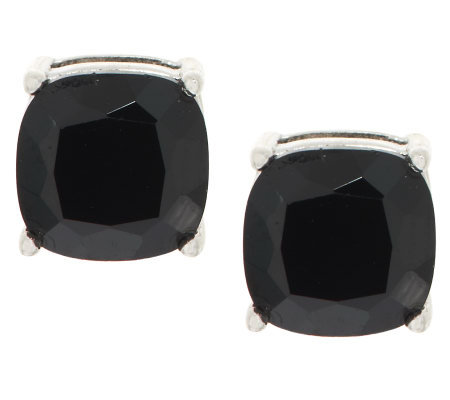 2 00 Ct Tw Black Spinel Cushion Cut Sterling Stud Earrings