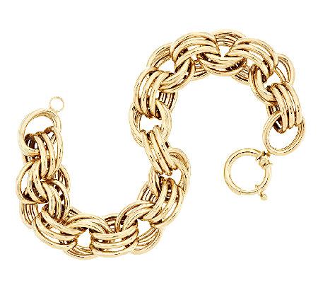 14k Gold 7 1 2 Bold Polished Triple Rolo Link Bracelet 13 3