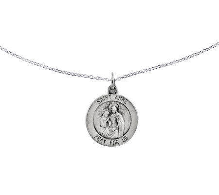 "Sterling Saint Anne Round Solid Pendant w/ 18""Chain"