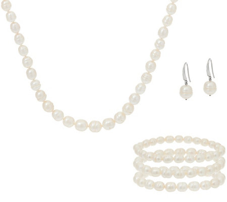 Honora Cultured Pearl Necklace Earrings And 3 Bracelets Boxed Gift Set