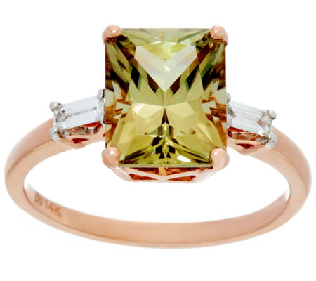 Radiant Cut Csarite & Baguette Diamond Ring 14K, 3.20 ct