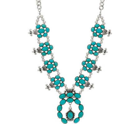 Simulated Turquoise Statement Necklace