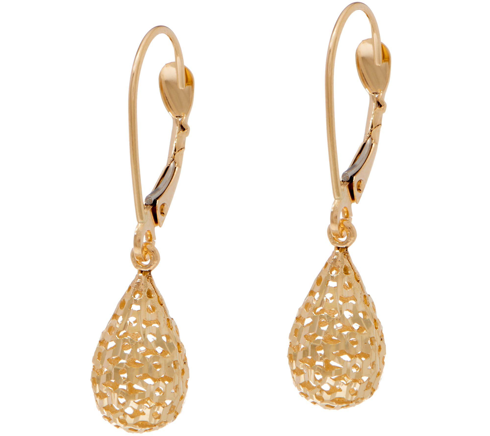 14k Gold Textured Teardrop Dangle Earrings Qvc Com