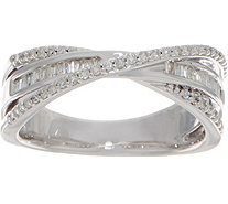 Baguette & Round Crossover Diamond Ring, 3/10 cttw Ster. by Affinity - J352058