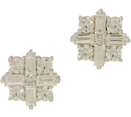 TOVA for Diamonique Star Stud Earrings, Platinum Clad