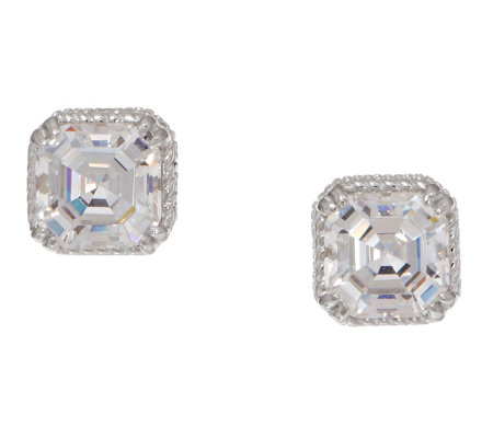 Diamonique Round or Asscher Stud Earrings, Sterling