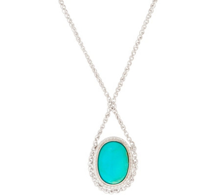 "Oval Turquoise Sterling Silver 18"" Necklace"