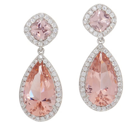 Diamonique Simulated Morganite Drop Earrings, Sterling Silver