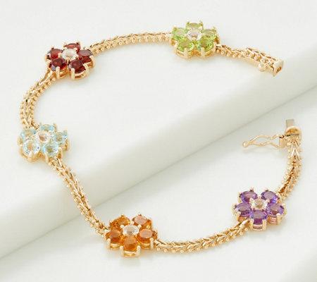 Imperial Gold Gemstone Flower Bracelet 14k Qvc