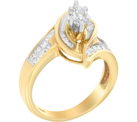 Round & Baguette Ring, 14K, 1.25 cttw, by Affinity