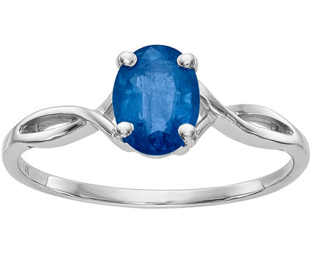 14K White Gold Oval Solataire Gemstone Ring