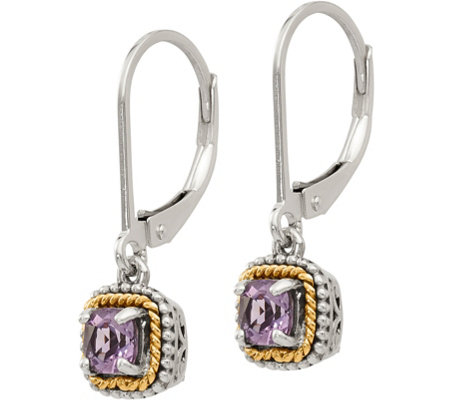 Sterling Silver & 14K Gemstone Dangle Lever Back Earrings