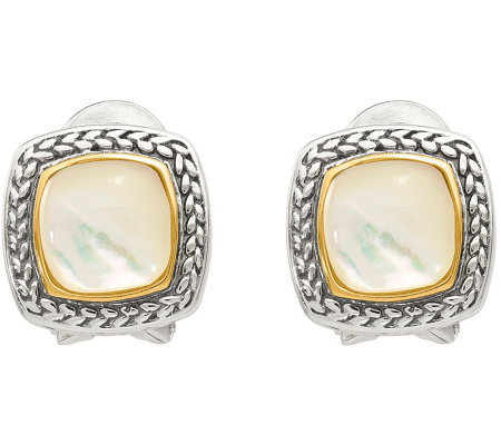 Sterling & 14K Gold Mother-of-Pearl StudEarrings