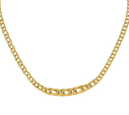 14K Gold Graduated Interlocking Curb Link Necklace, 8.2g