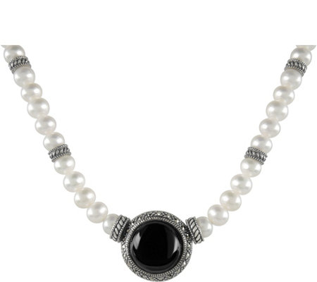 Suspicion Sterling Cultured Pearl Onxy Necklace