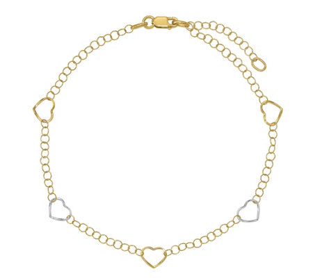 Italian Gold Two-Tone Heart Stations Anklet 14K, 1.6g