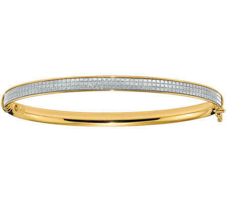 Italian Gold Glimmer Infused Hinged Bangle, 4.4g